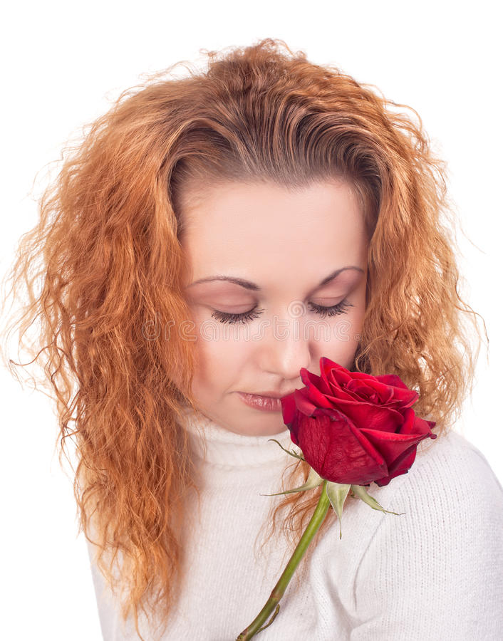 Download Woman with red rose stock photo. Image of complexion - 28061738