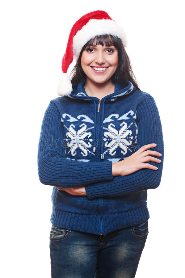Woman In Red Santa S Hat Stock Image
