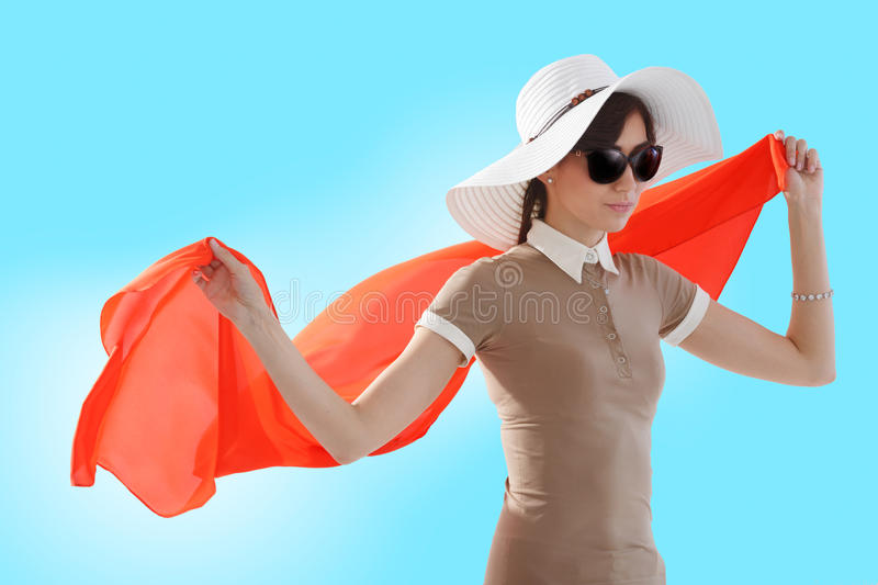 Woman with red scarf royalty free stock photo