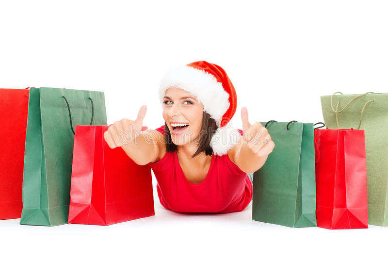 Download Woman In Red Shirt With Shopping Bags Stock Photo - Image: 34395908