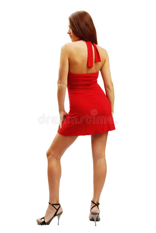 Woman In Red Short Dress Royalty Free Stock Photos