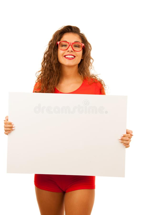 Woman in red showing blank white banner with copy space for additional text, graphics or addvertisement isolated over white.  royalty free stock images