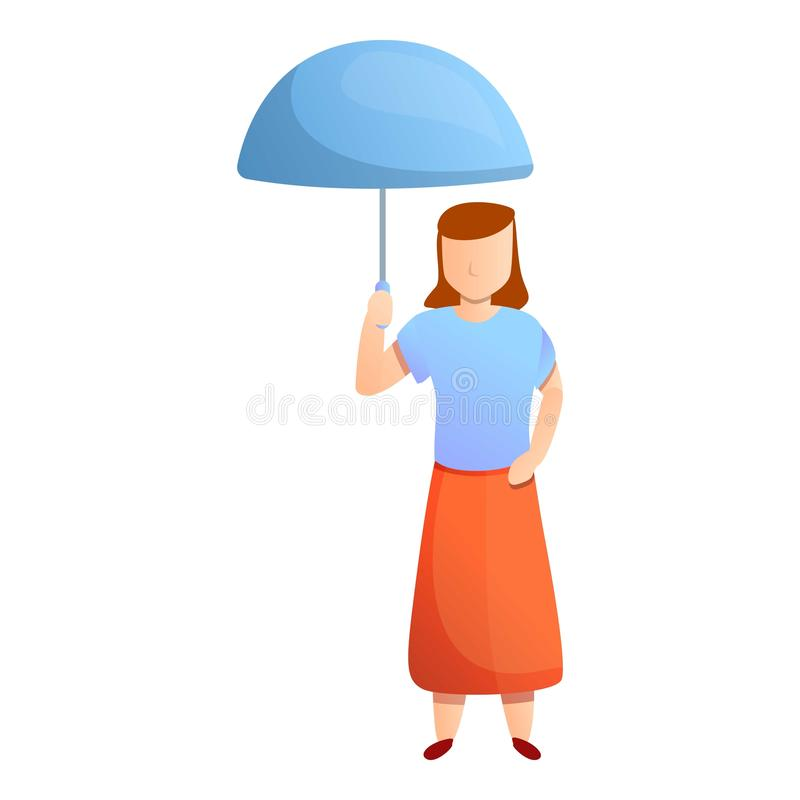 Woman in red skirt with blue umbrella icon, cartoon style vector illustration