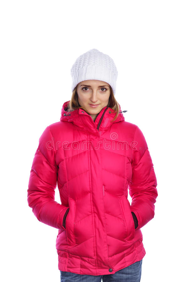 Woman in the red sport jacket. Smiling woman in the red sport jacket stock photography