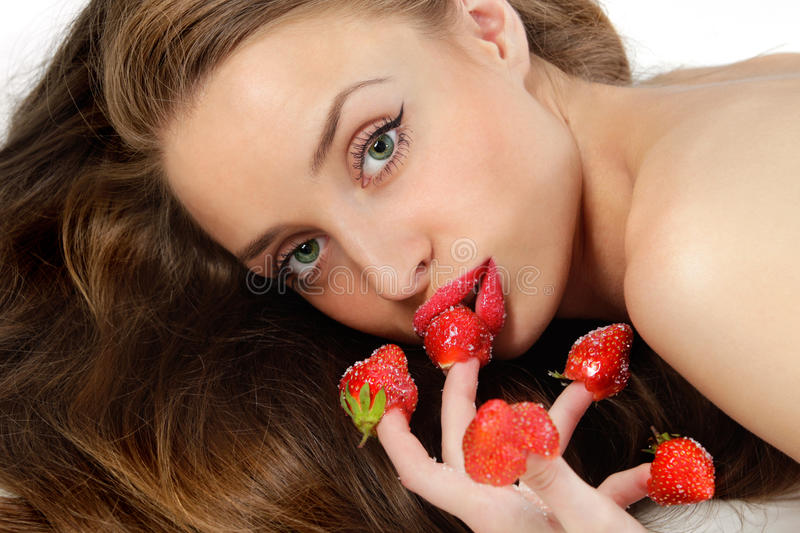 Woman With Red Strawberries Royalty Free Stock Photography