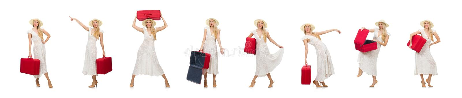Woman with red suitcase isolated on white stock photos