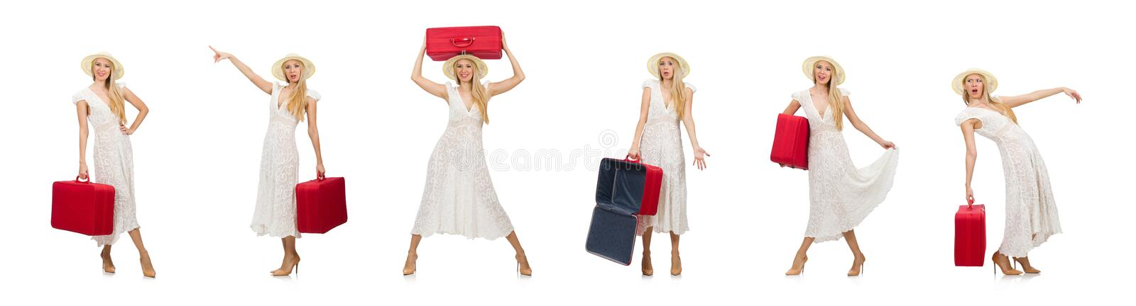 Woman with red suitcase isolated on white. The woman with red suitcase isolated on white stock photography