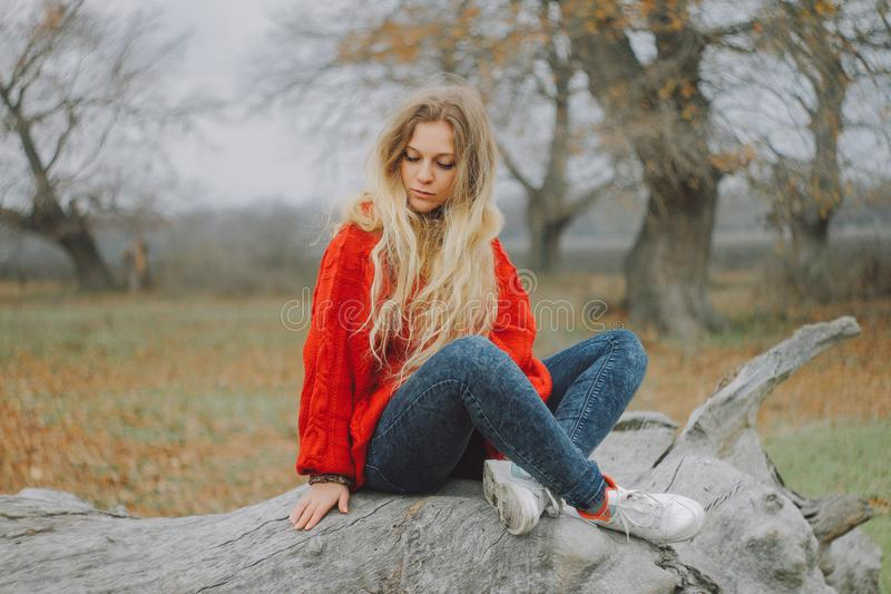 Woman in Red Sweater Sitting on Cutted Tree royalty free stock images