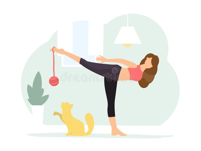 Warrior III pose. Woman doing Yoga with cat. Woman in red t-shirt and black pants practices yoga at home with a cat in a warrior III pose. Flat style character royalty free illustration