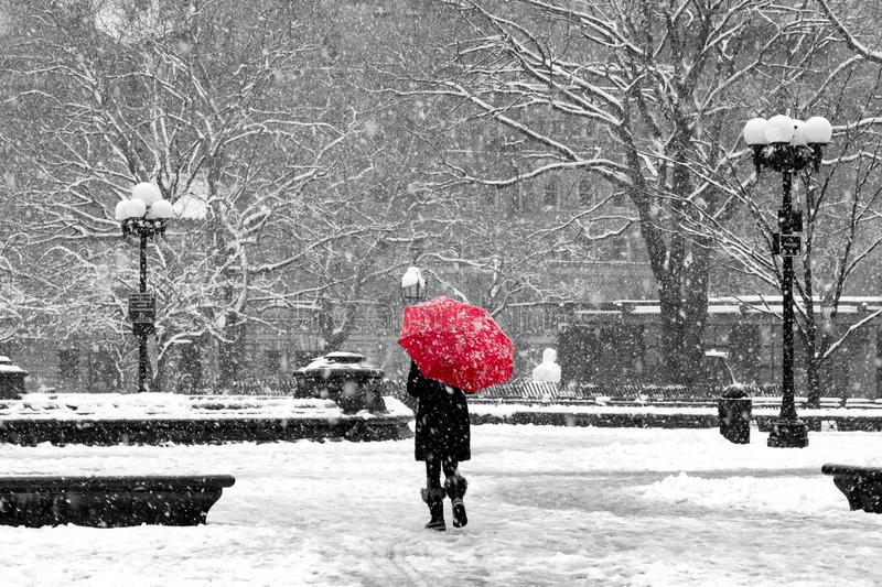 Woman with red umbrella in black and white New York City snow stock image