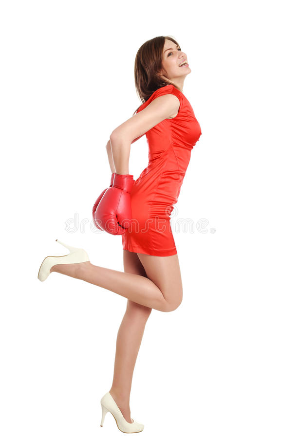 Download Woman In Red, Wearing Boxing Gloves Stock Photo - Image of girl, competitive: 30051086