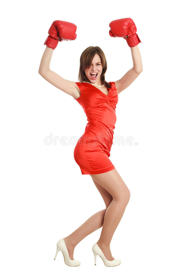 Woman In Red, Wearing Boxing Gloves Stock Photo