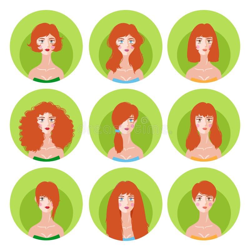 Woman redhead hairstyle icon set stock illustration