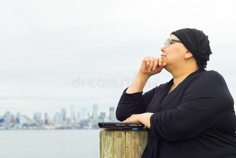Woman Reflects Upon Medical Condition royalty free stock photos