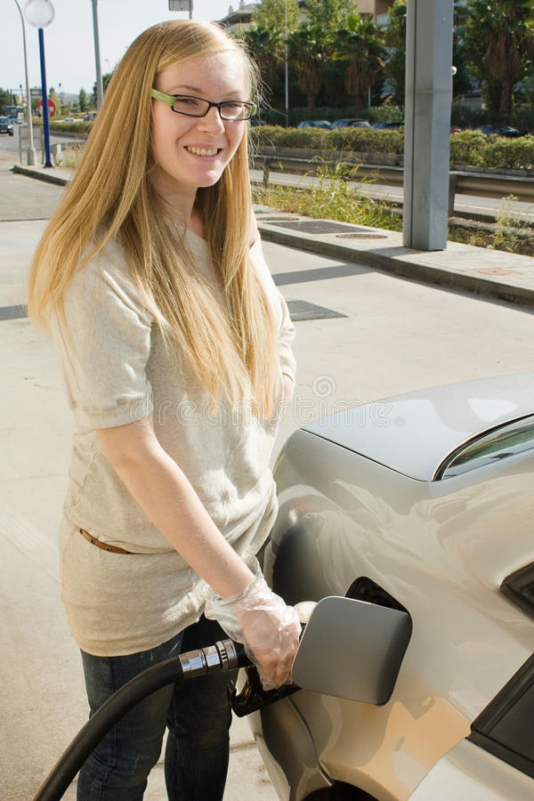 Woman Refuel Her Car Stock Image