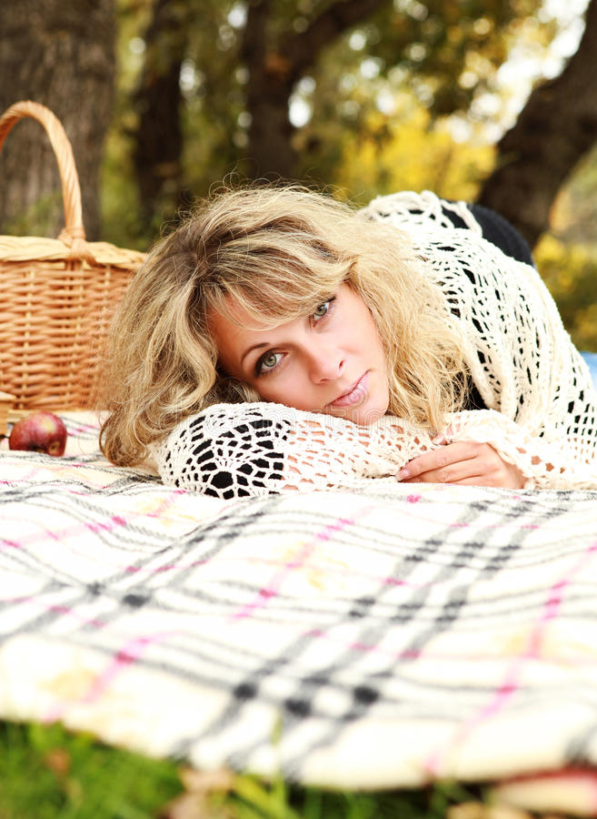 Download Woman relax on picnic stock image. Image of happy, basket - 26904805