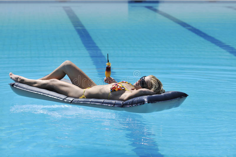 Download Woman Relax On Swimming Pool Stock Photo - Image: 15628208
