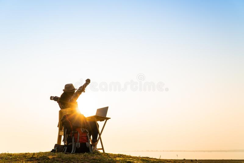 Woman relax time with wonderful day for resting stock photography