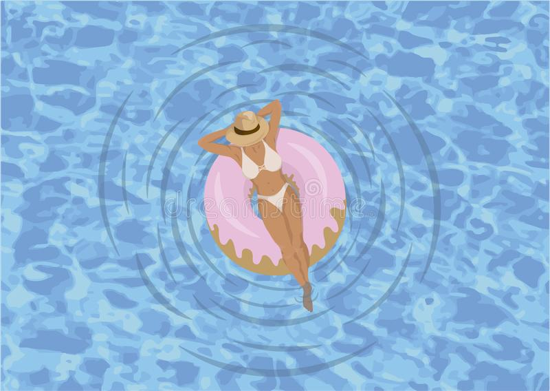 Woman relaxed in the pool with donuts float stock illustration