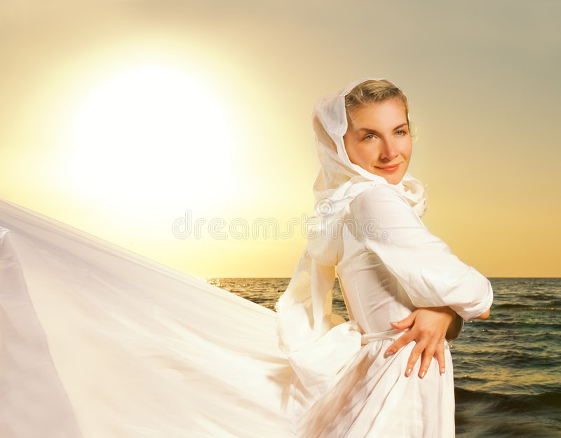 Woman Relaxin On The Beach Stock Photo