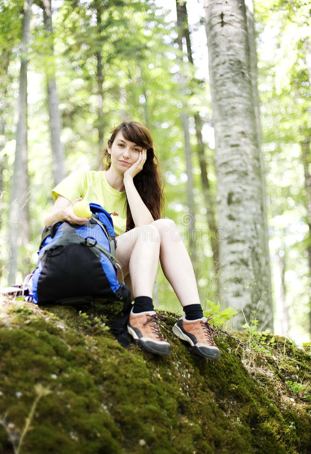 Download Woman  relaxing stock photo. Image of backpacking, leisure - 26416758