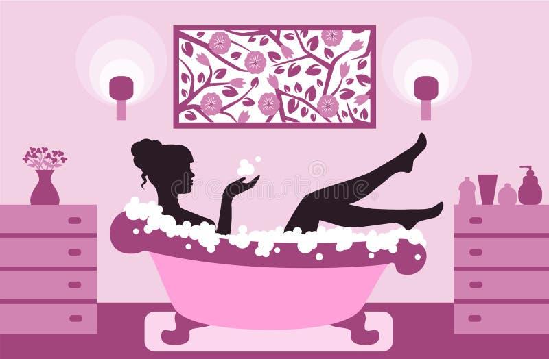 Woman relaxing in bath foam stock illustration