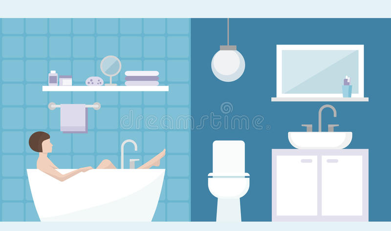 Woman relaxing in the bathroom. Young woman having a relaxing bath in the bathroom at home, room interior royalty free illustration