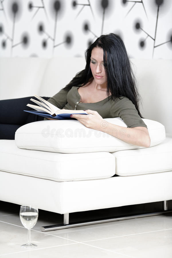 Download Woman Relaxing With A Book And Wine Stock Photo - Image: 33547764