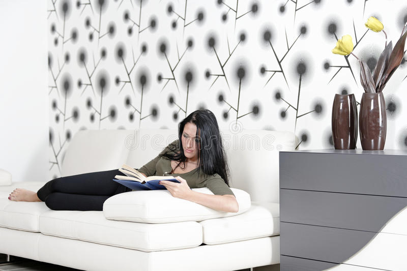Download Woman Relaxing With A Book And Wine Stock Photo - Image: 33547772