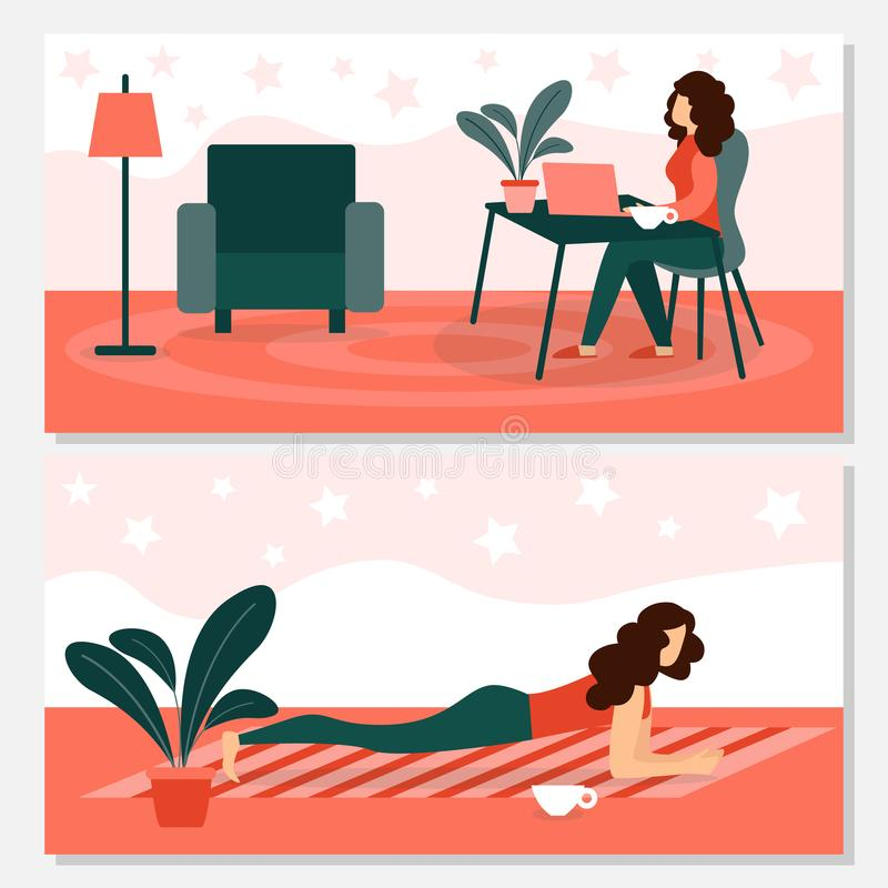 Woman Relaxing and doing Sport Exercises at Home. Young Woman Relaxing and doing Sport Exercises at Home with Modern Interior Design. Girl Working on Laptop royalty free illustration