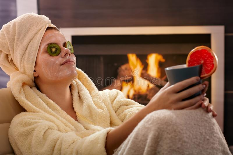 Download Woman Relaxing In Facial Mask Stock Image - Image: 26384545