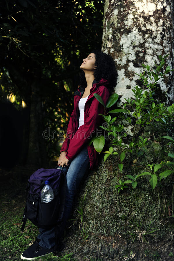 Woman relaxing in the forest stock image