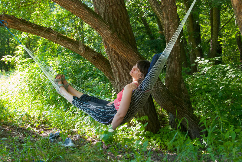 Download Woman Relaxing In The Hammock Stock Image - Image of woman, nature: 14998569