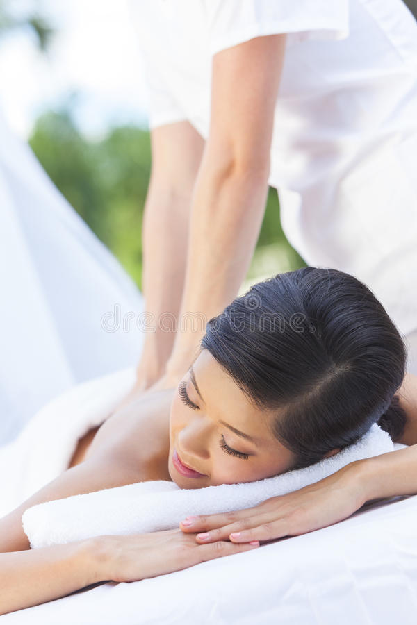 Woman Relaxing At Health Spa Having Massage royalty free stock photography