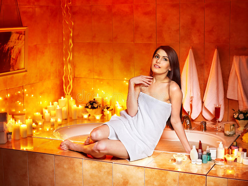 Download Woman Relaxing At Home Bath. Stock Photo - Image: 28880516