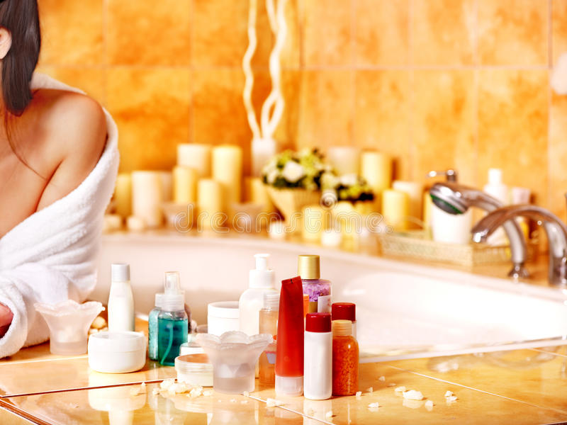 Download Woman Relaxing At Home Bath. Stock Photo - Image: 30465468