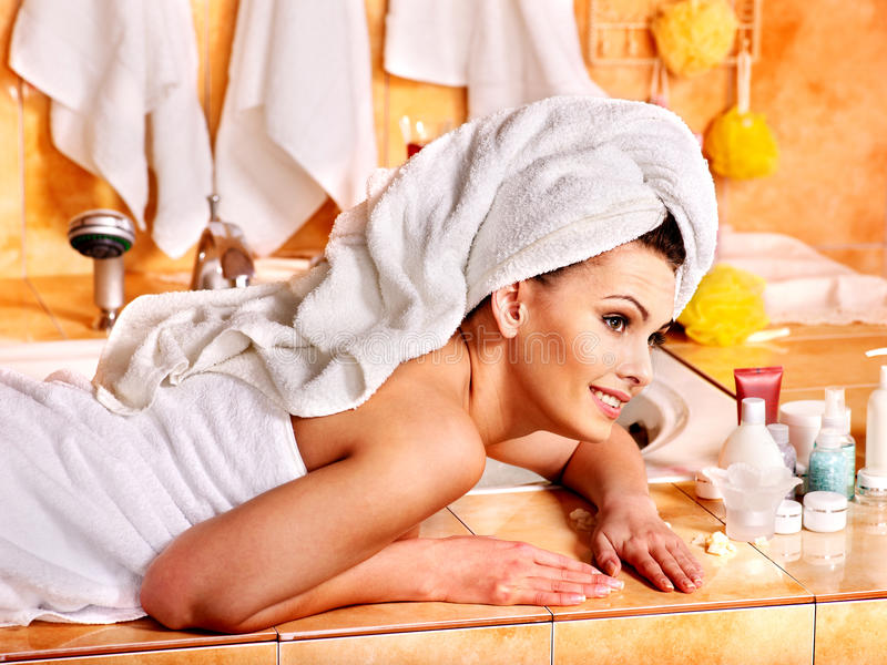 Download Woman Relaxing At Home Bath. Stock Image - Image of foam, fizz: 30465627
