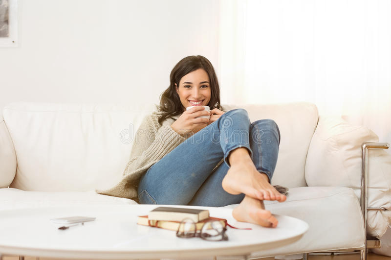 Woman Relaxing At Home Stock Image Image Of Winter