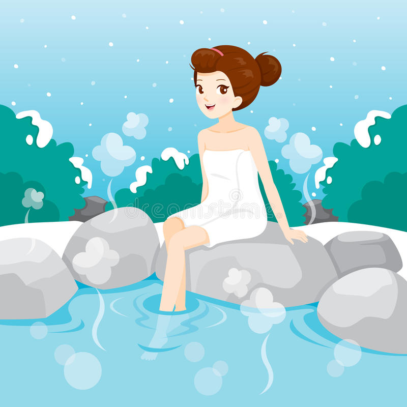 Woman Relaxing In Hot Spring. Bath Onsen Japanese Culture Healthy Season Body vector illustration