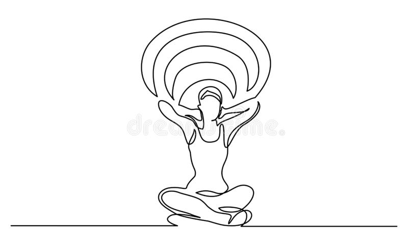 Woman relaxing in lotus pose and cleaning mind. Continuous one line drawing. Woman relaxing in lotus pose and cleaning mind. Vector illustration for banner, web stock illustration