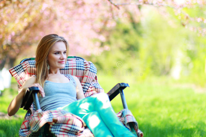 Woman relaxing royalty free stock images