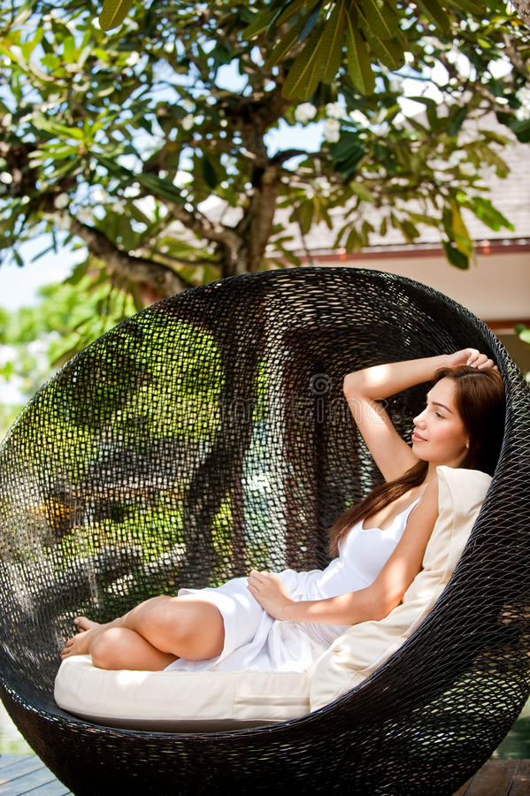 Woman Relaxing Outdoors royalty free stock photography
