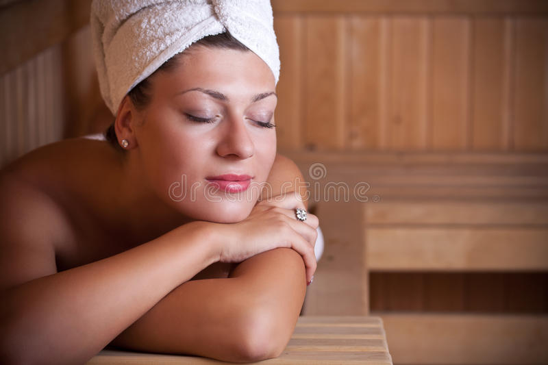 Download Woman Relaxing In The Sauna Stock Photo - Image: 21506872