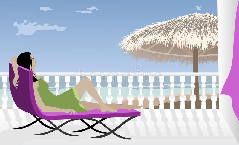 Woman Relaxing by the sea vector illustration