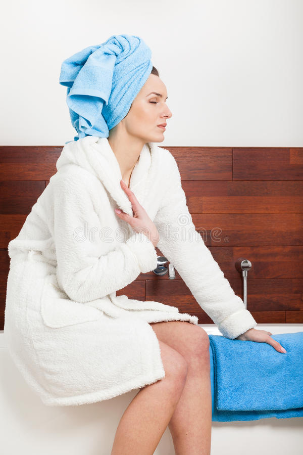Woman Relaxing After Shower Stock Image - Image of relaxing, gown ...