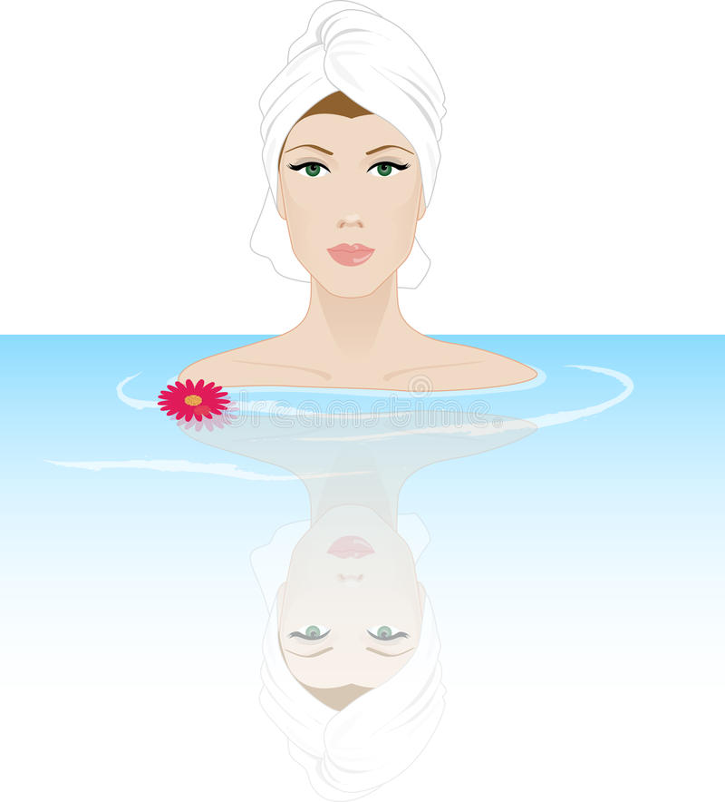 Woman relaxing in a spa vector illustration