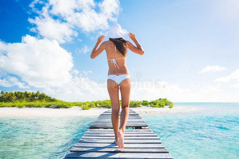 Woman Relaxing Tropical Island royalty free stock photo