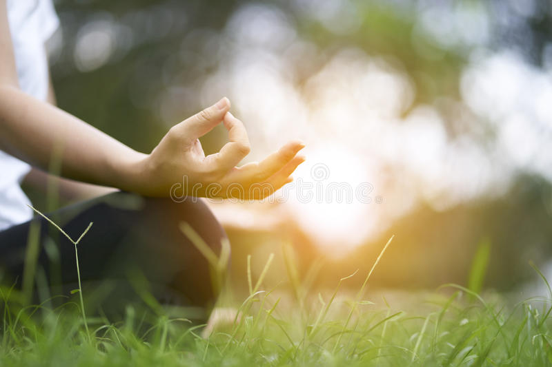 Woman relaxing Yoga in the park, Meditation for peace of mind. royalty free stock photo