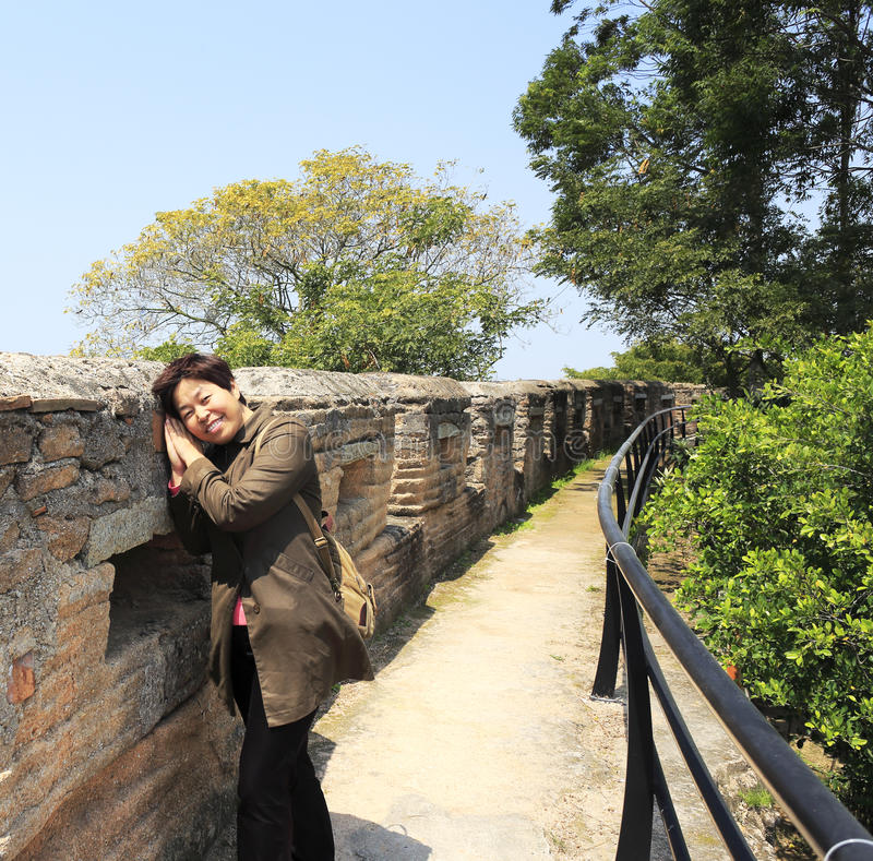 Woman rely on the great wall stock photos