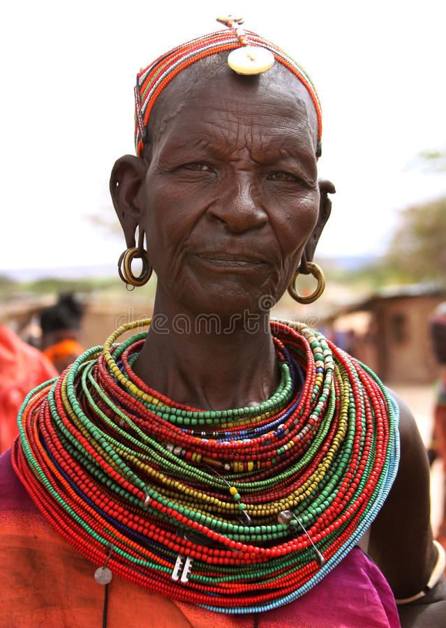 Woman of Rendile's tribe in Africa stock photo